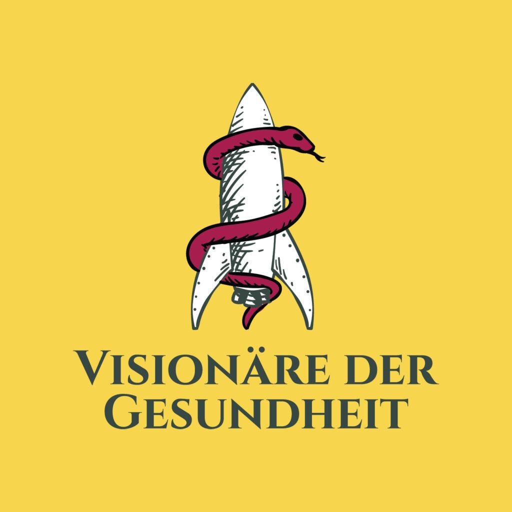 Logo Visionäre der Gesundheit auf gelbem Grund